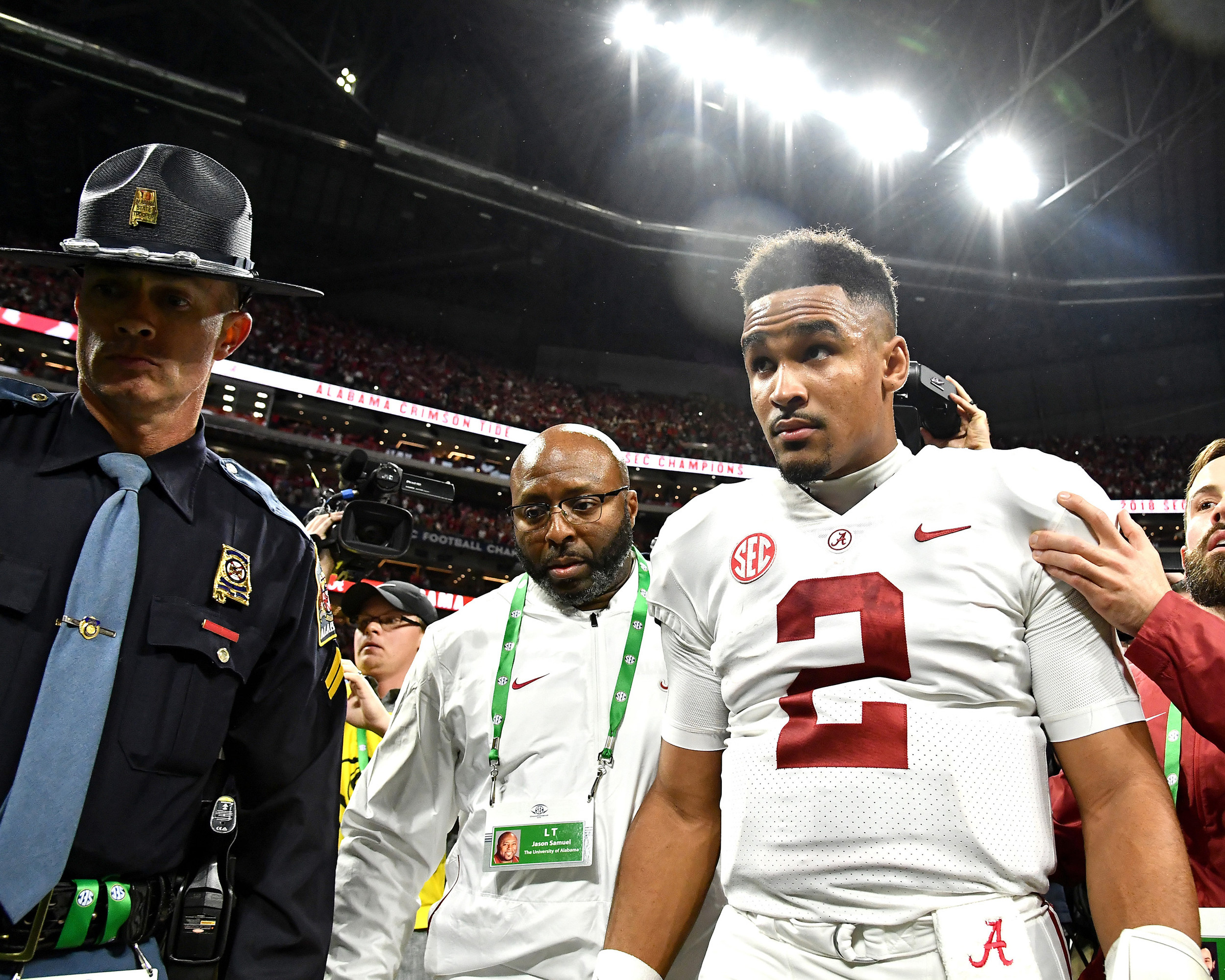 Post-game to the 2018 SEC Championship football game, featuring the Georgia Bulldogs and the Alabama Crimson Tide, at Mercedes-Benz Stadium in Atlanta, Ga., on Dec. 1, 2018. Alabama wins 35-28. (Photo by Lee Walls)