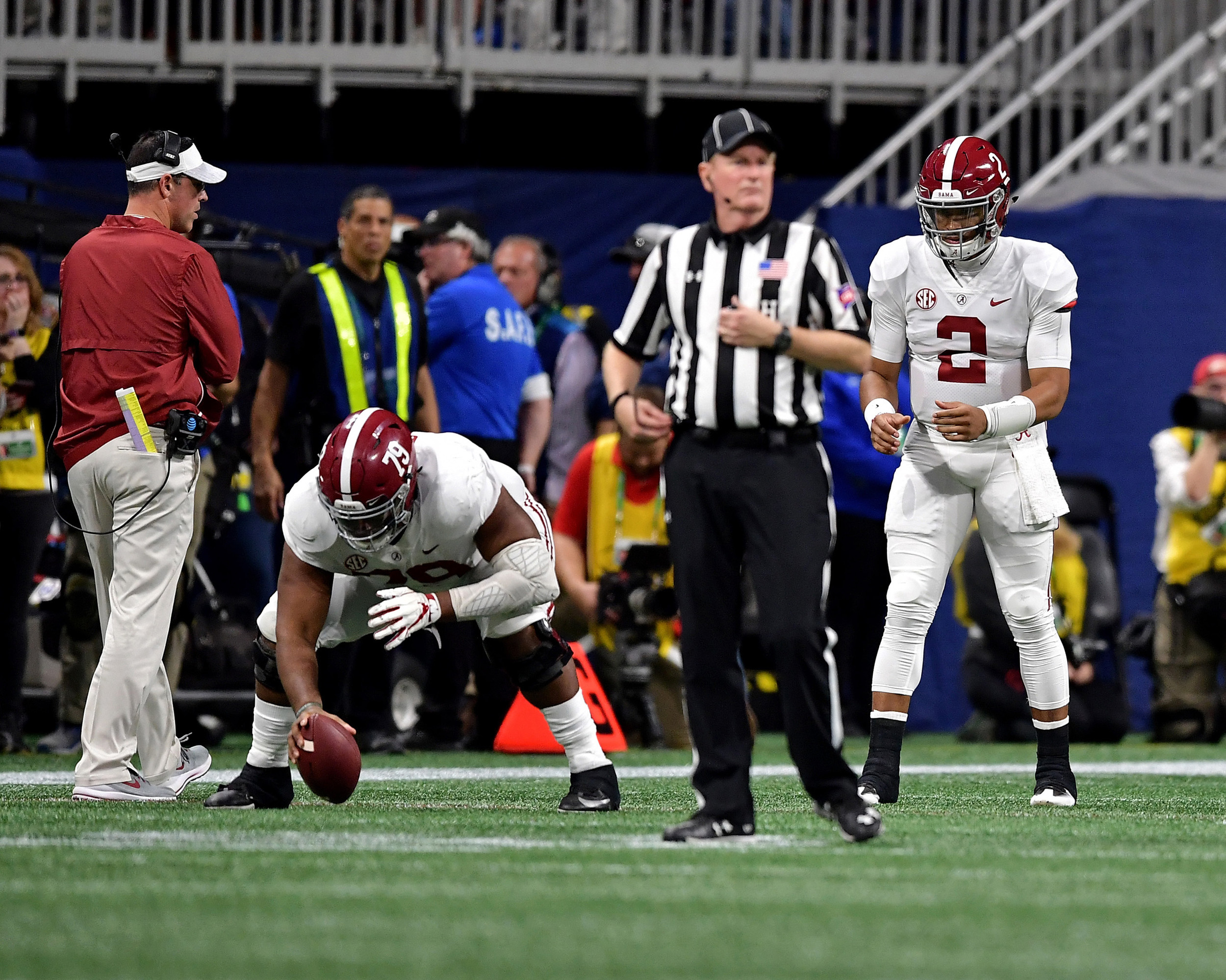 Alabama Crimson Tide quarterback Jalen Hurts (2) warms up prior to entering the game late in the fourth quarter of the 2018 SEC Championship football game at Mercedes-Benz Stadium in Atlanta, Ga., on Dec. 1, 2018. Alabama wins 35-28. (Photo by Lee Walls)