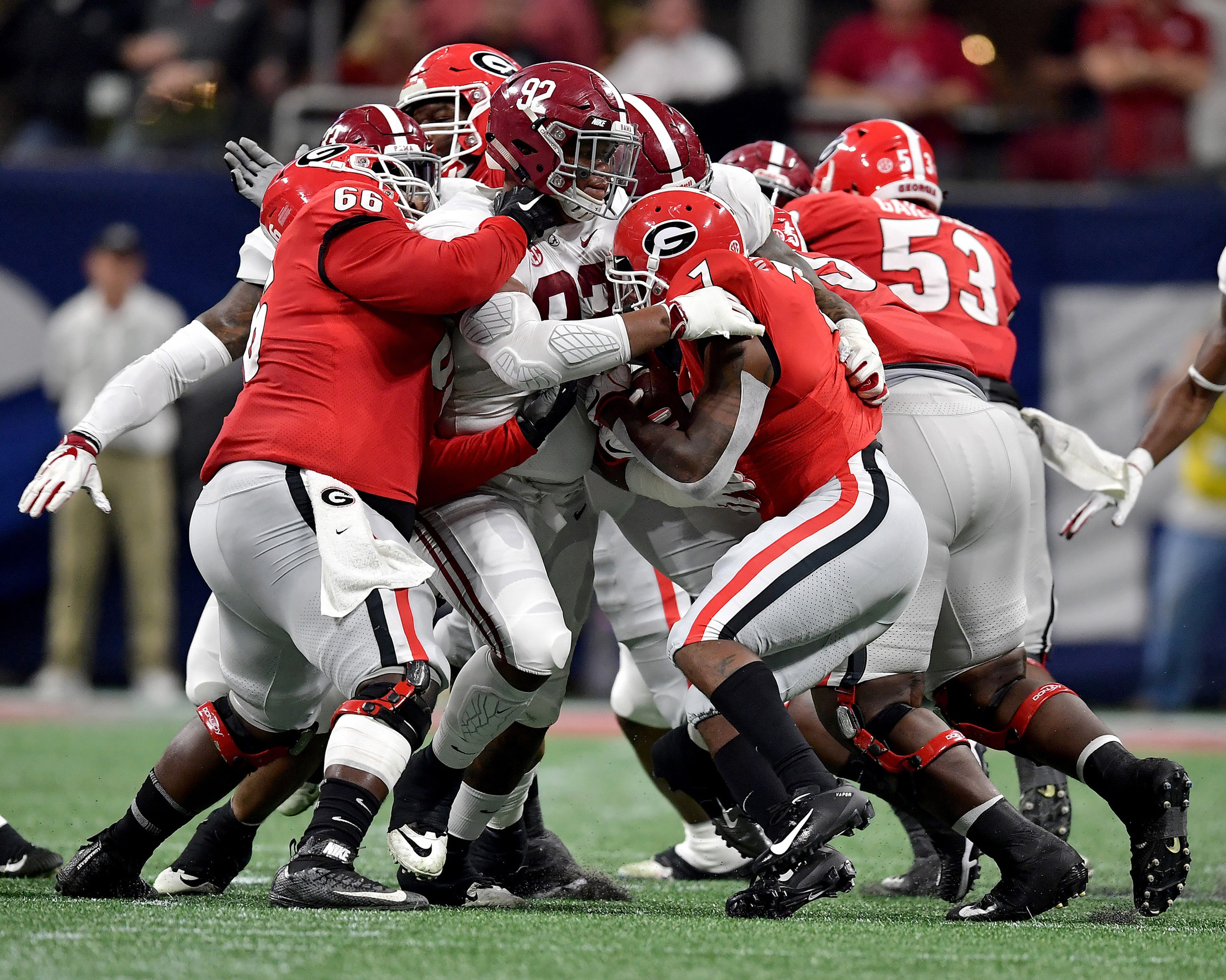 From the first half of the 2018 SEC Championship football game, featuring the Georgia Bulldogs and the Alabama Crimson Tide, at Mercedes-Benz Stadium in Atlanta, Ga., on Dec. 1, 2018. Alabama wins 35-28. (Photo by Lee Walls)