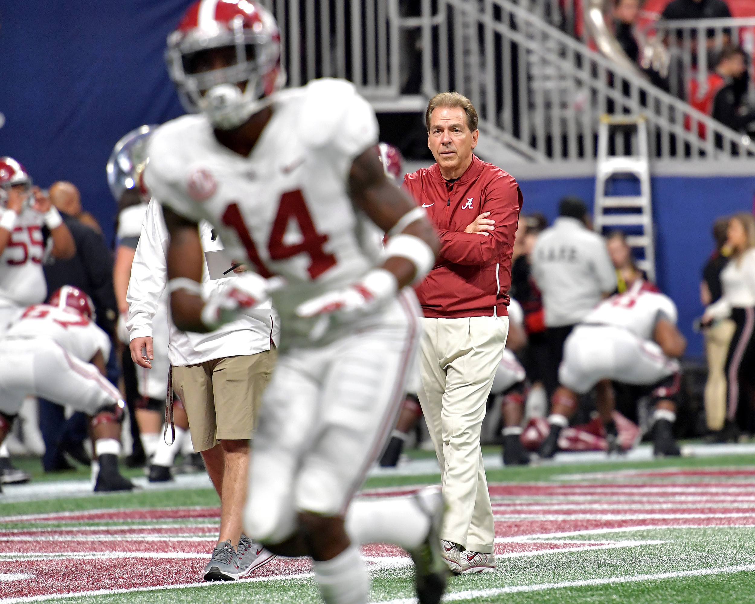 Alabama coach Nick Saban looks over his players prior to the 2018 SEC Championship football game, featuring the Georgia Bulldogs and the Alabama Crimson Tide, at Mercedes-Benz Stadium in Atlanta, Ga., on Dec. 1, 2018. Alabama wins 35-28. (Photo by Lee Walls)