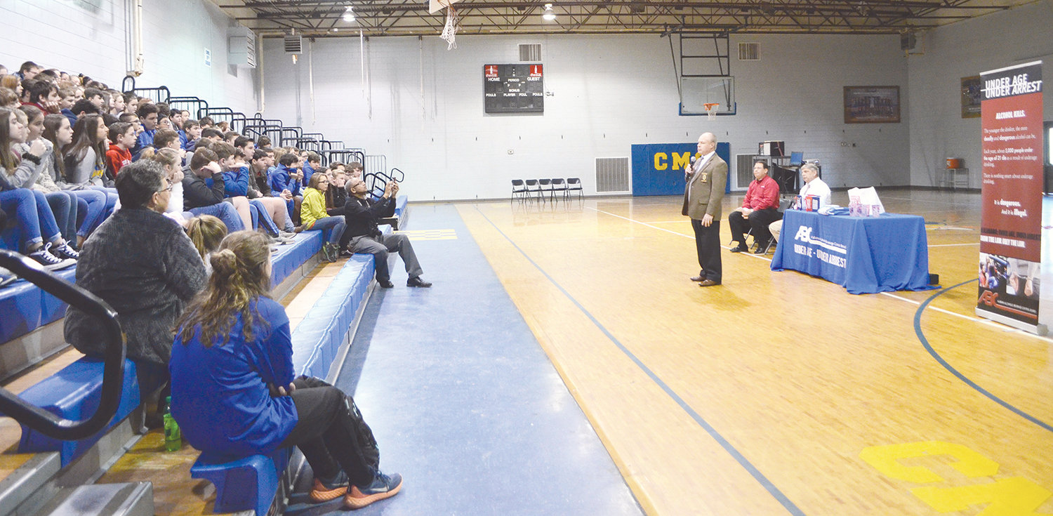 Jasper Police Chief J.C. Poe encourages students Tuesday to not give in to peer pressure.
