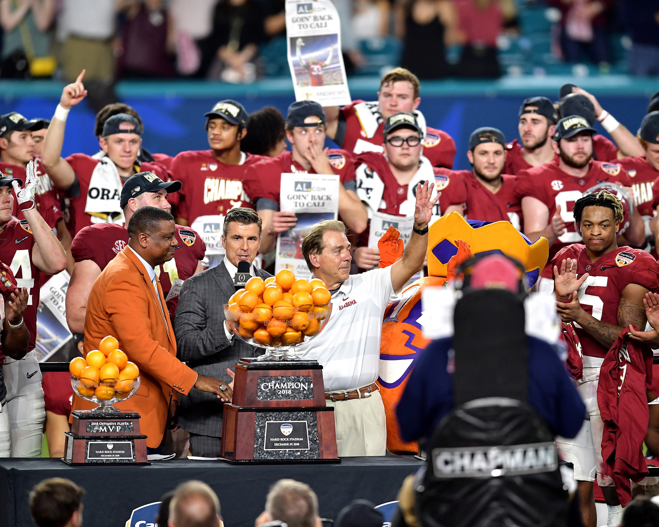 The trophy presentation following the Capital One Orange Bowl, featuring the Alabama Crimson Tide and the Oklahoma Sooners, at Hard Rock Stadium in Miami Gardens, Fla., Saturday, Dec. 29, 2018. Alabama wins 45-34. (Photo by Lee Walls)