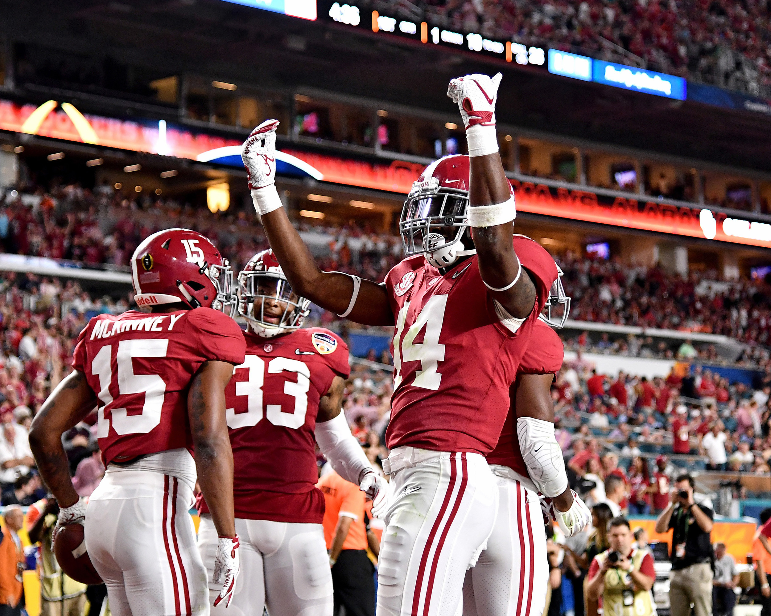 From the first half of the Capital One Orange Bowl, featuring the Alabama Crimson Tide and the Oklahoma Sooners, at Hard Rock Stadium in Miami Gardens, Fla., Saturday, Dec. 29, 2018. Alabama wins 45-34. (Photo by Lee Walls)