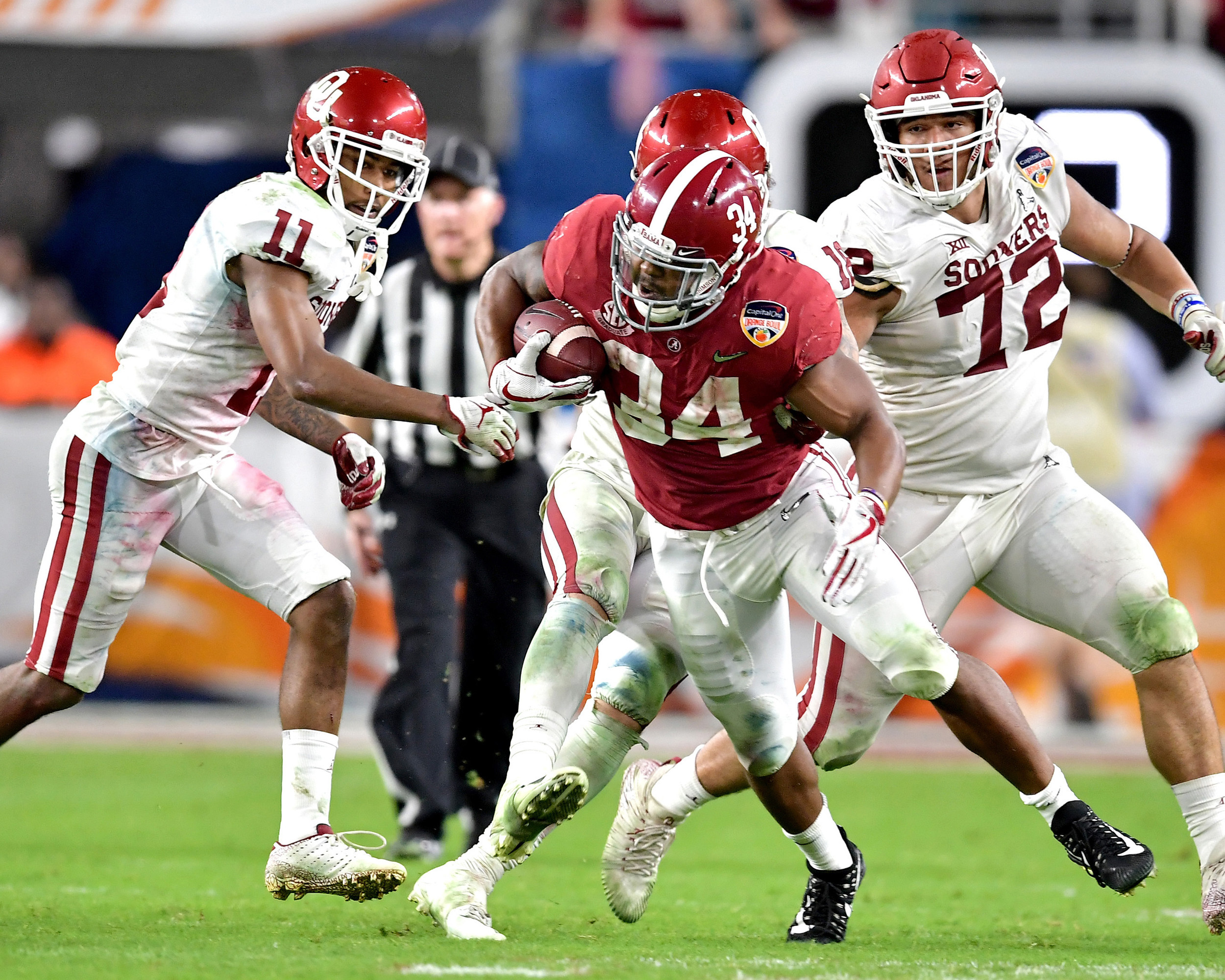 From the second half of the Capital One Orange Bowl, featuring the Alabama Crimson Tide and the Oklahoma Sooners, at Hard Rock Stadium in Miami Gardens, Fla., Saturday, Dec. 29, 2018. Alabama wins 45-34. (Photo by Lee Walls)