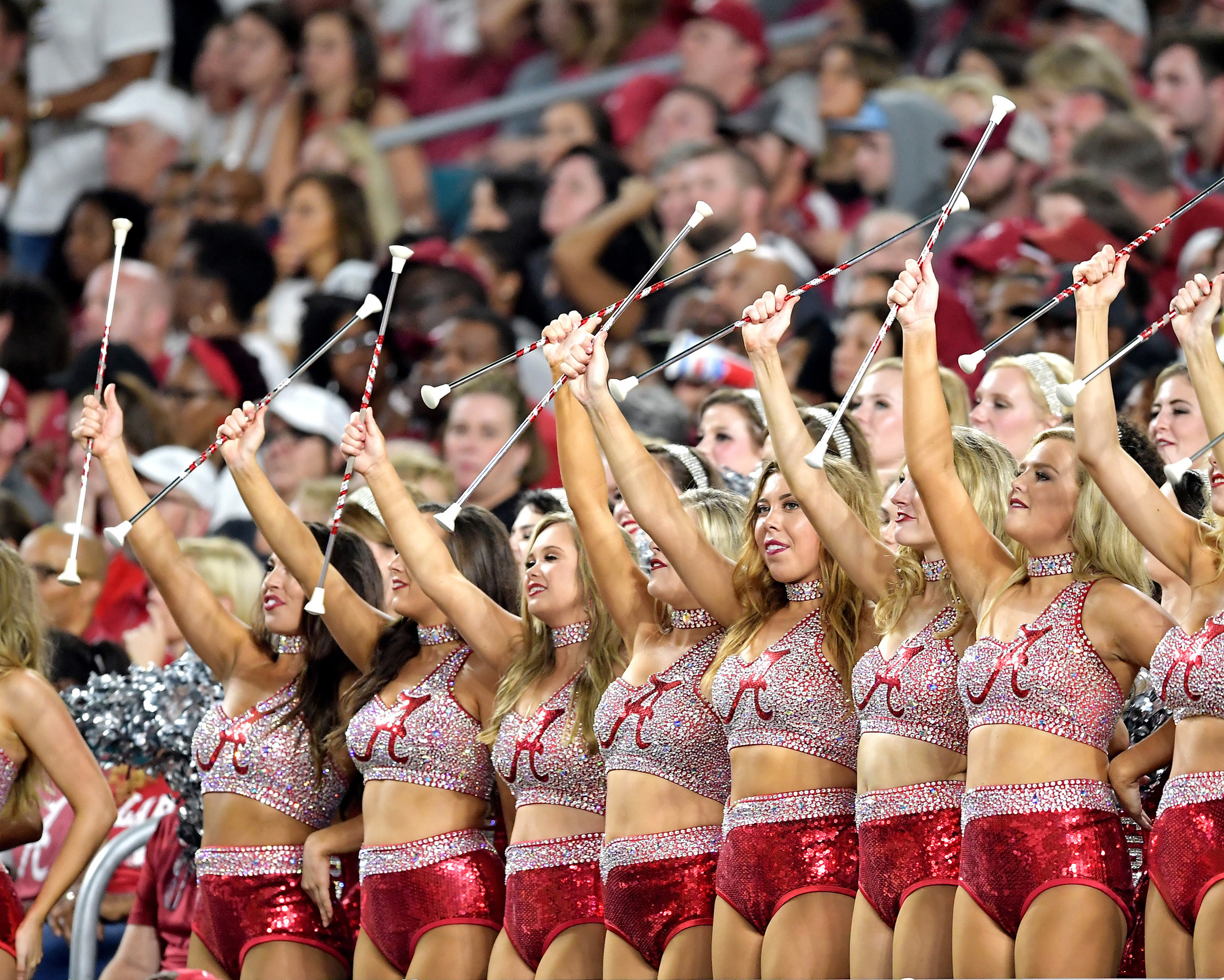 Alabama Crimson Tide Crimsonettes in the stands during the second half of the Capital One Orange Bowl, featuring Alabama and the Oklahoma Sooners, at Hard Rock Stadium in Miami Gardens, Fla., Saturday, Dec. 29, 2018. Alabama wins 45-34. (Photo by Lee Walls)