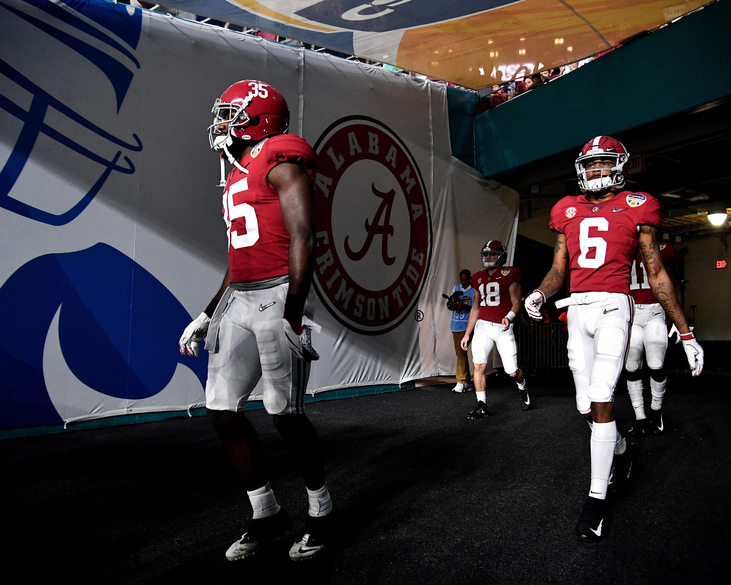 Players exit the tunnel prior to the kickoff of the Capital One Orange Bowl, featuring the Alabama Crimson Tide and the Oklahoma Sooners, at Hard Rock Stadium in Miami Gardens, Fla., Saturday, Dec. 29, 2018. Alabama wins 45-34. (Photo by Lee Walls)