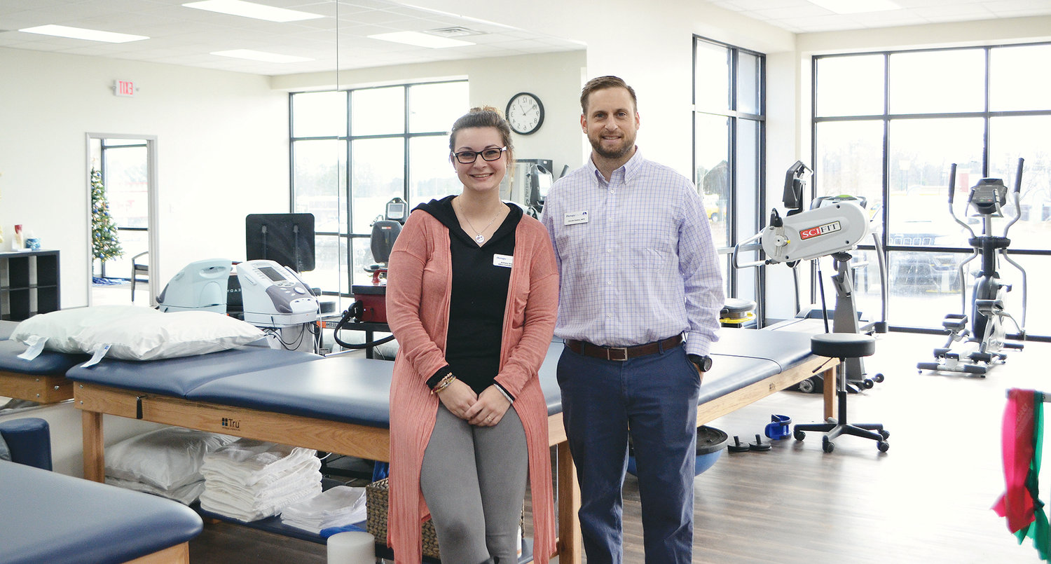 Clinic director and physical therapist Jacob Gates is pictured with office coordinator Brittany Key at the new TherapySouth in Jasper.