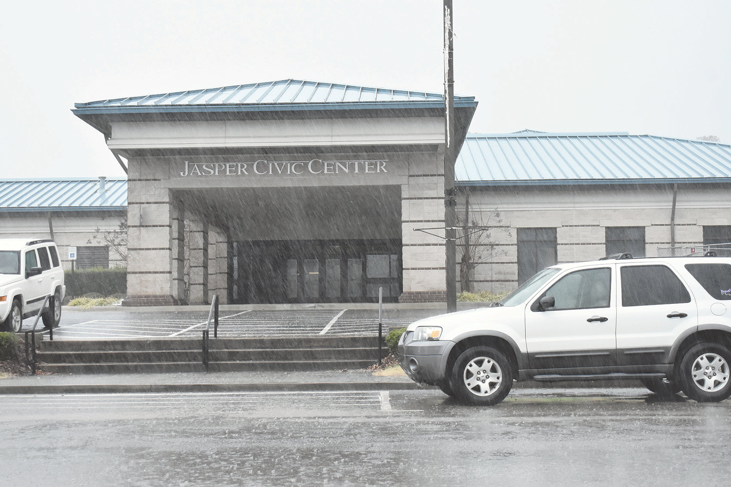 Heavy rains had no noticeable impact on the Jasper Civic Center parking lot on Monday, a marked change from the past.