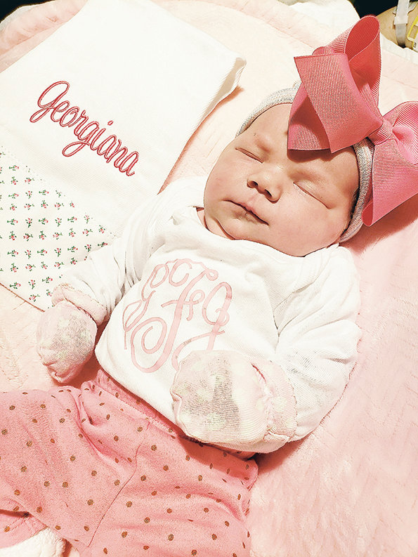 Georgiana Jolee Felkins, daughter of Cassidy Barnette and Joseph Felkins of Nauvoo, was the first baby born at Walker Baptist Medical Center in 2019. She was born Wednesday at 7:56 a.m. weighing 8 lbs.,11 oz. She has two older brothers.