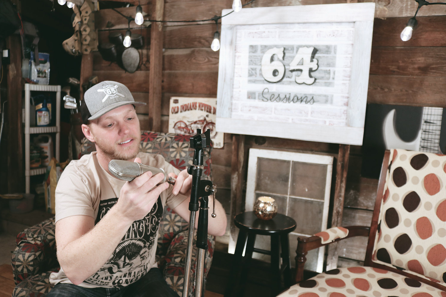 Cody Lockhart of Dora prepares the set for an interview on his 64 Sessions YouTube Channel. New segments are released on Mondays.