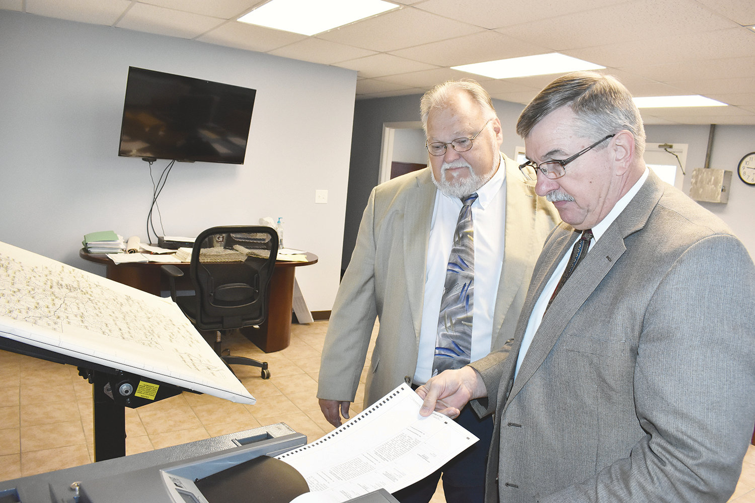 Walker County Probate Judge Rick Allison and Probate Judge-elect A. Lee Tucker review elections procedures on Oct. 25 during a test of election machines for the 2018 General Election. Tucker will be sworn in as the new probate judge on Jan. 14 at the Walker County Courthouse at noon.