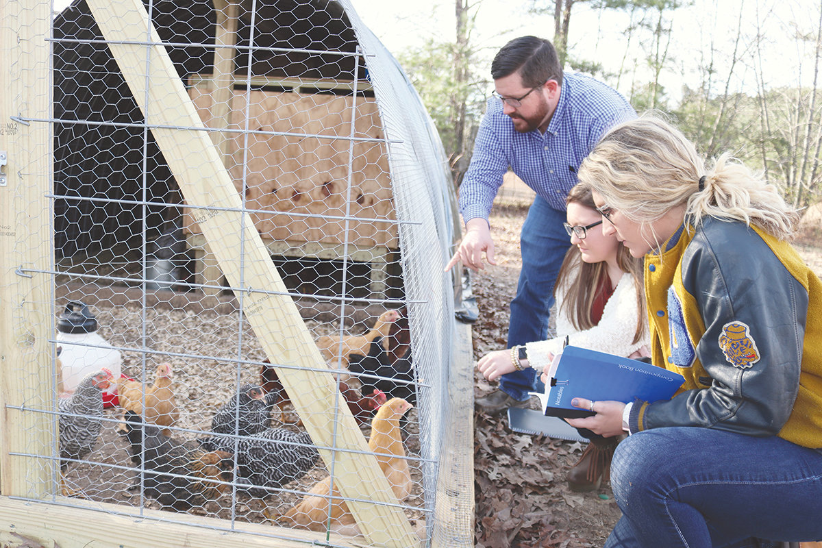 Joshua Tubbs, the Agriculture teacher at Dora High School points out the various breeds of chickens to Lana Ennis, and Tori Morrison. The two students hold leadership positions in the school's FFA program.