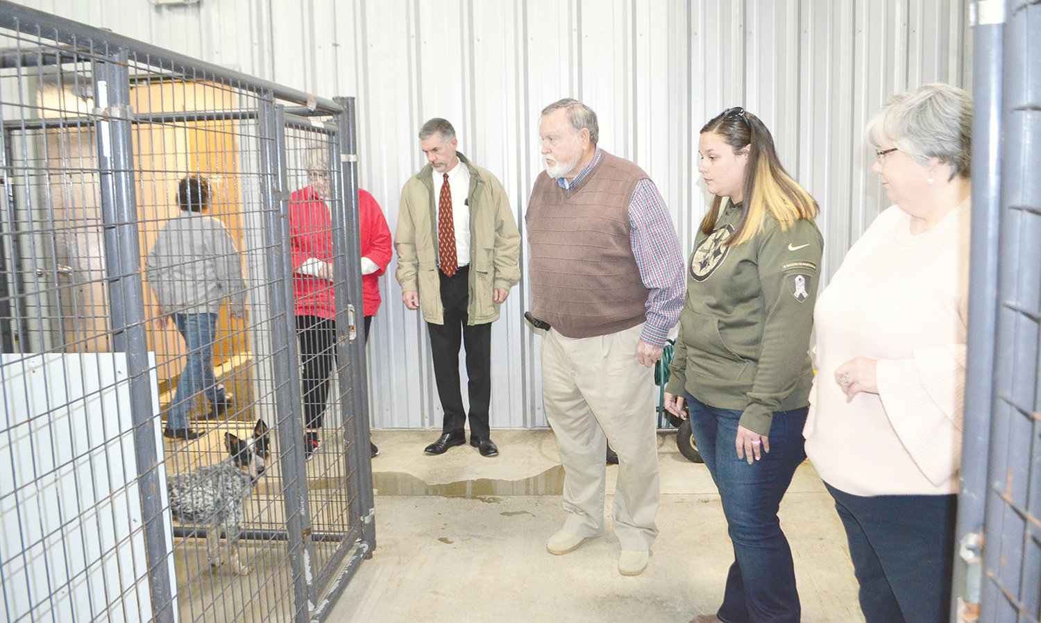 Many observe the county animal shelter's redesigned kennels Tuesday.