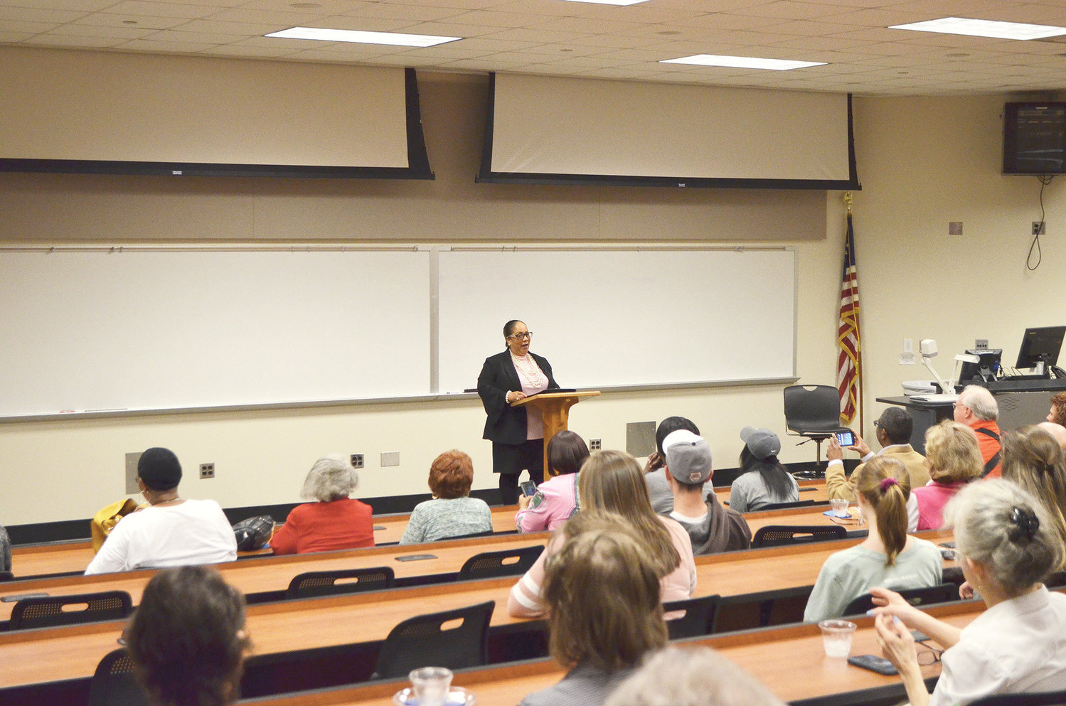 Sheyann Webb-Christburg, a civil rights activist, kicked off the 26th season of Read Alabama! on Thursday. Pictured, she speaks to a crowd at Bevill State Community College in Jasper.