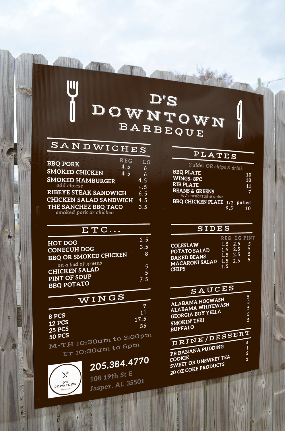 The menu for D's Downtown Barbecue