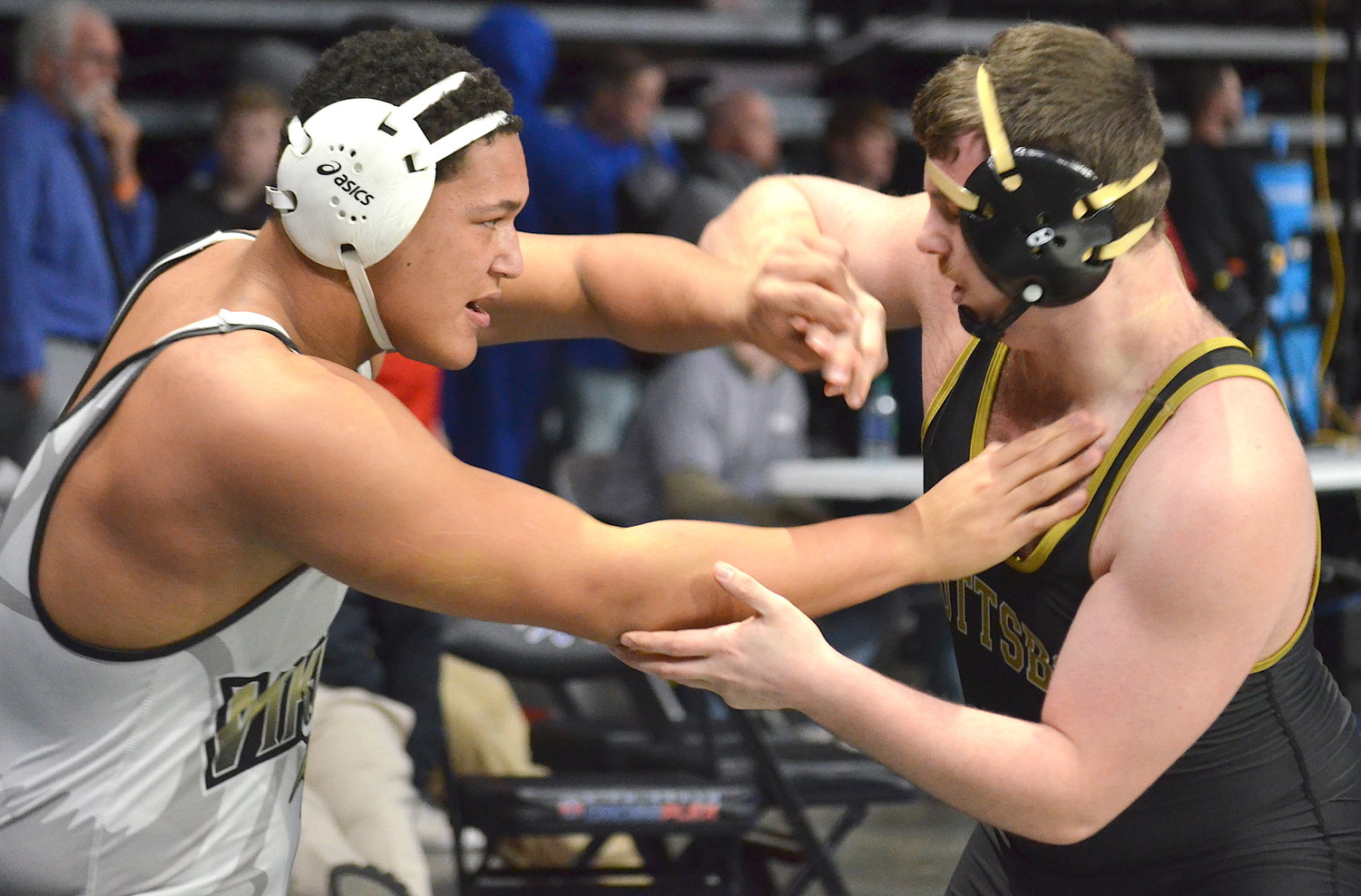 Jasper's Brodie Vinson, left, battles a Scottsboro opponent during the North Super Section Tournament on Saturday in Birmingham. Vinson will be one of nine Jasper wrestlers competing in this week's State Wrestling Tournament at the Von Braun Center in Huntsville.