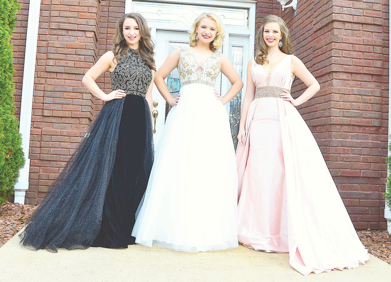 "Miss Walker County's Outstanding Teen Lindsey Wood, Miss Cotton States' Outstanding Teen Samantha Hennings and Miss Heart of Dixie Outstanding Teen Maddie Machovec pose in just a few of the outfits they will wear when they compete in the 2019 Miss Alabama's Outstanding Teen Pageant on Saturday, March 2, and Sunday, March 3, at Thompson High School in Alabaster. The theme of this year's pageant is ""Home Sweet Home"" and will feature Collins McMurray, Miss Alabama's Outstanding Teen 2018, and 50 contestants from across the state."
