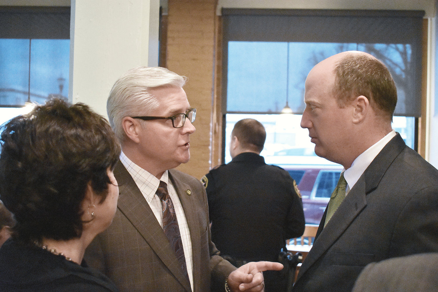 Senate Majority Leader Greg Reed, R-Jasper, left and Lt. Gov. Will Ainsworth share a moment at a Jasper Main Street reception on Tuesday.