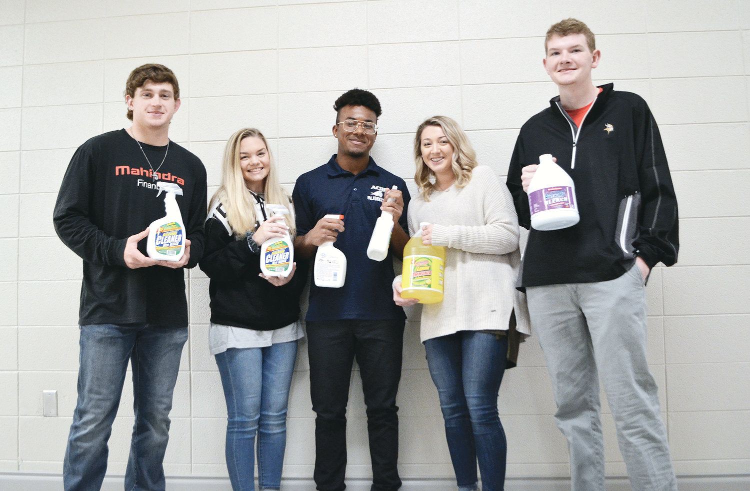 Jasper High School is continuing to collect personal hygiene items and cleaning supplies that will be transported to help tornado victims in Lee County. Donations must be made by tomorrow afternoon by visiting the front office of Jasper High. Pictured are students holding some items that were donated last Friday. From left to right, senior Zac Durham, sophomore Jordan Bolen, senior Ezaa Bell, senior Haley Sickles and junior Grayson Diehl.