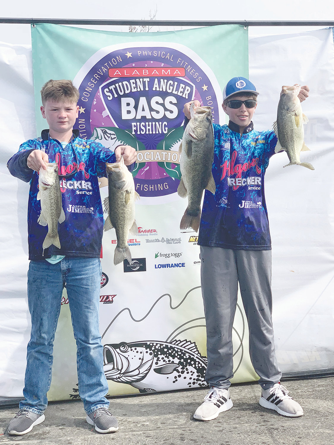 Oakman Middle School students Eli Kilgore and Brodey Hartley recently won the junior division Alabama Student Angler Bass Fishing Association's (ASABFA) Qualifying Tournament at Lake Eufaula.