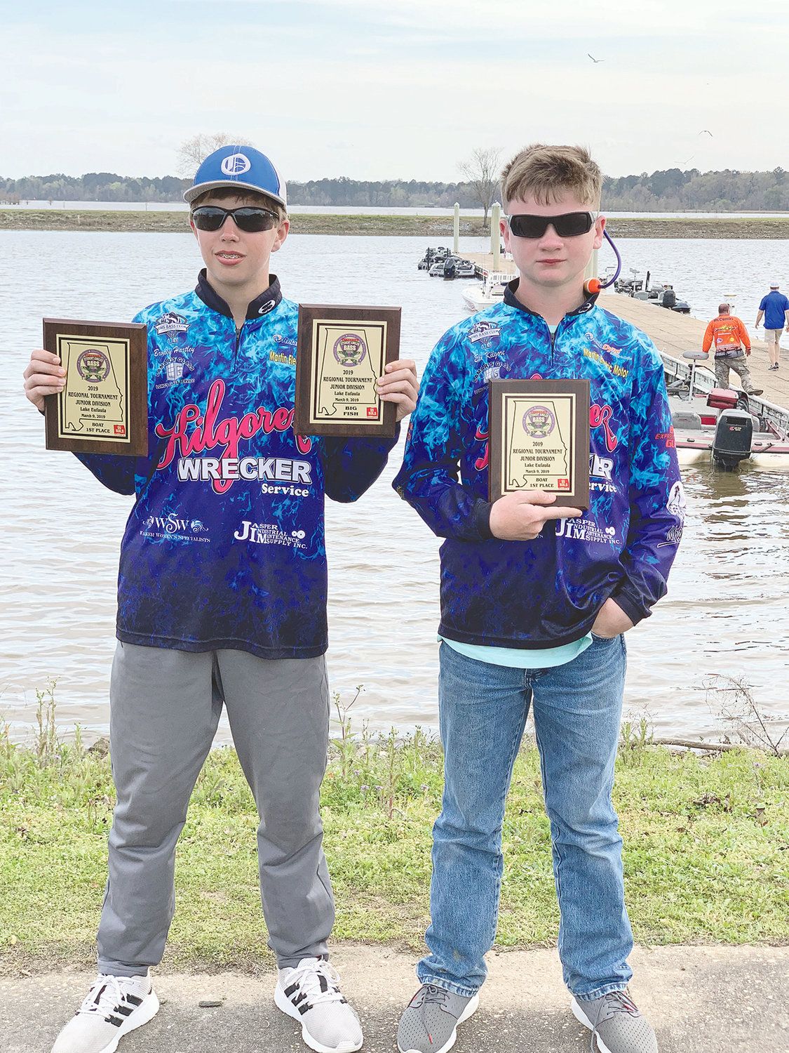 Oakman Middle School students Brodey Hartley and Eli Kilgore recently won the junior division Alabama Student Angler Bass Fishing Association's (ASABFA) Qualifying Tournament at Lake Eufaula.