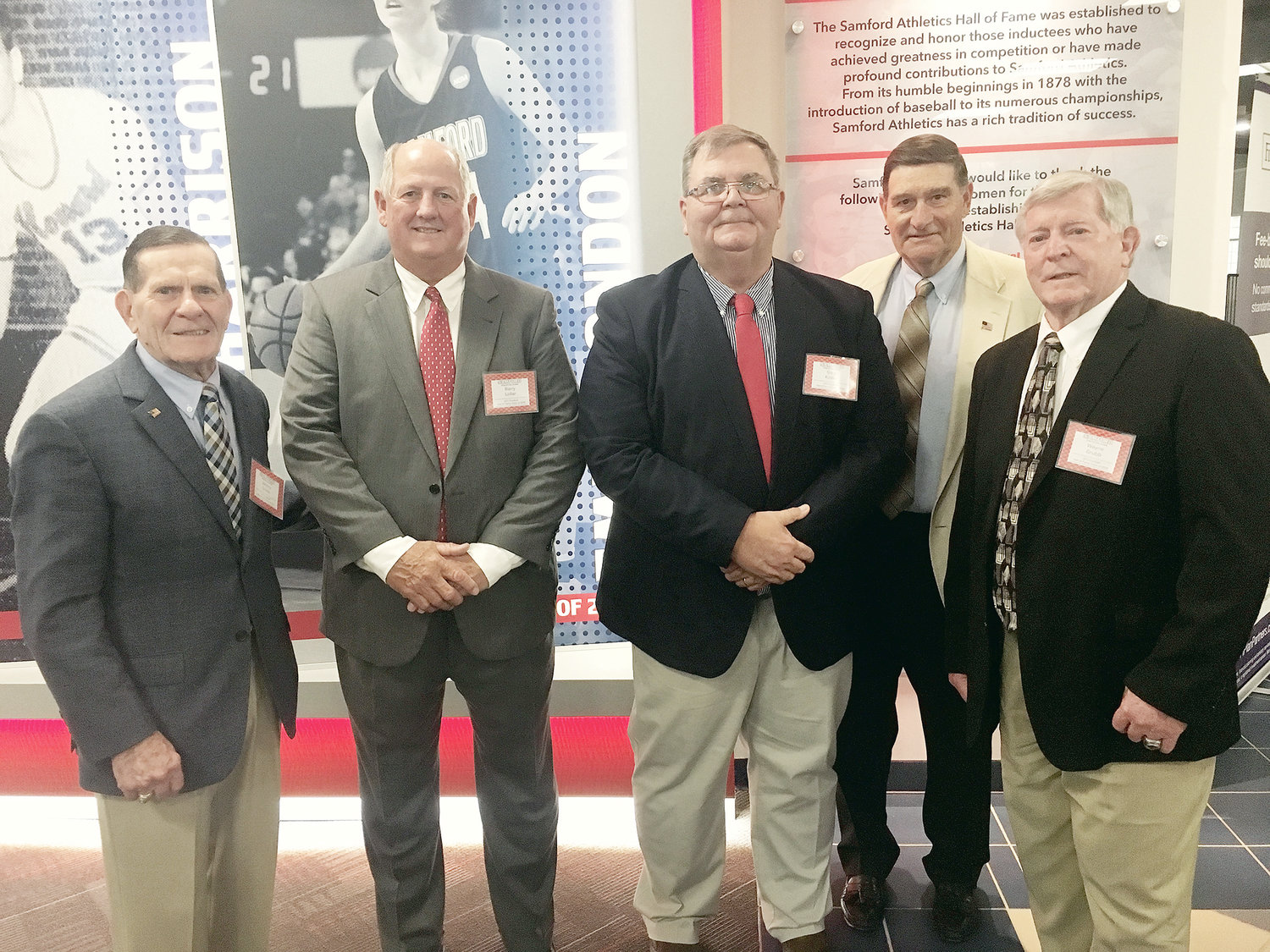 Pictured, from left to right, is Johnny Grubb, Barry Lollar, Gary Kinley, Bill Baker and Wayne Grubb, all former players on the Samford University 1971 football team. The team was recently inducted into the Samford University Athletics Hall of Fame. Johnny Grubb, Wayne Grubb, Kinley and Lollar are all from Walker County.