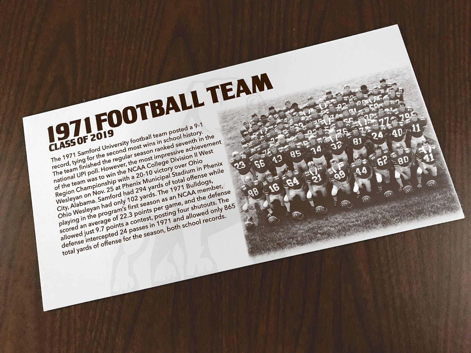 Pictured is a commemorative plaque that each player of the 1971 Samford football team received.