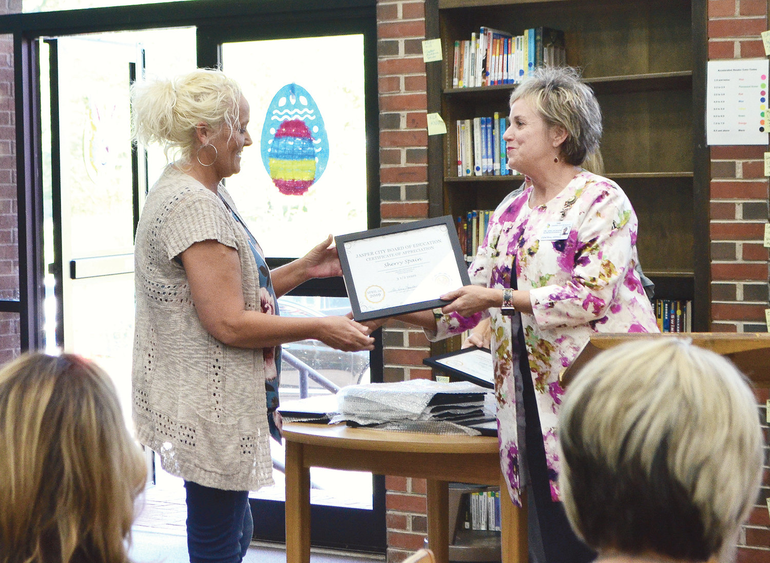 Sherry Spain of Memorial Park Elementary School was honored for three and a half years of service in the CNP program.