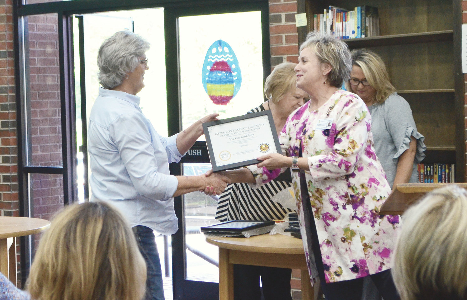 Vickie Godfrey of Memorial Park Elementary School was honored for 12 years of service in the CNP program.