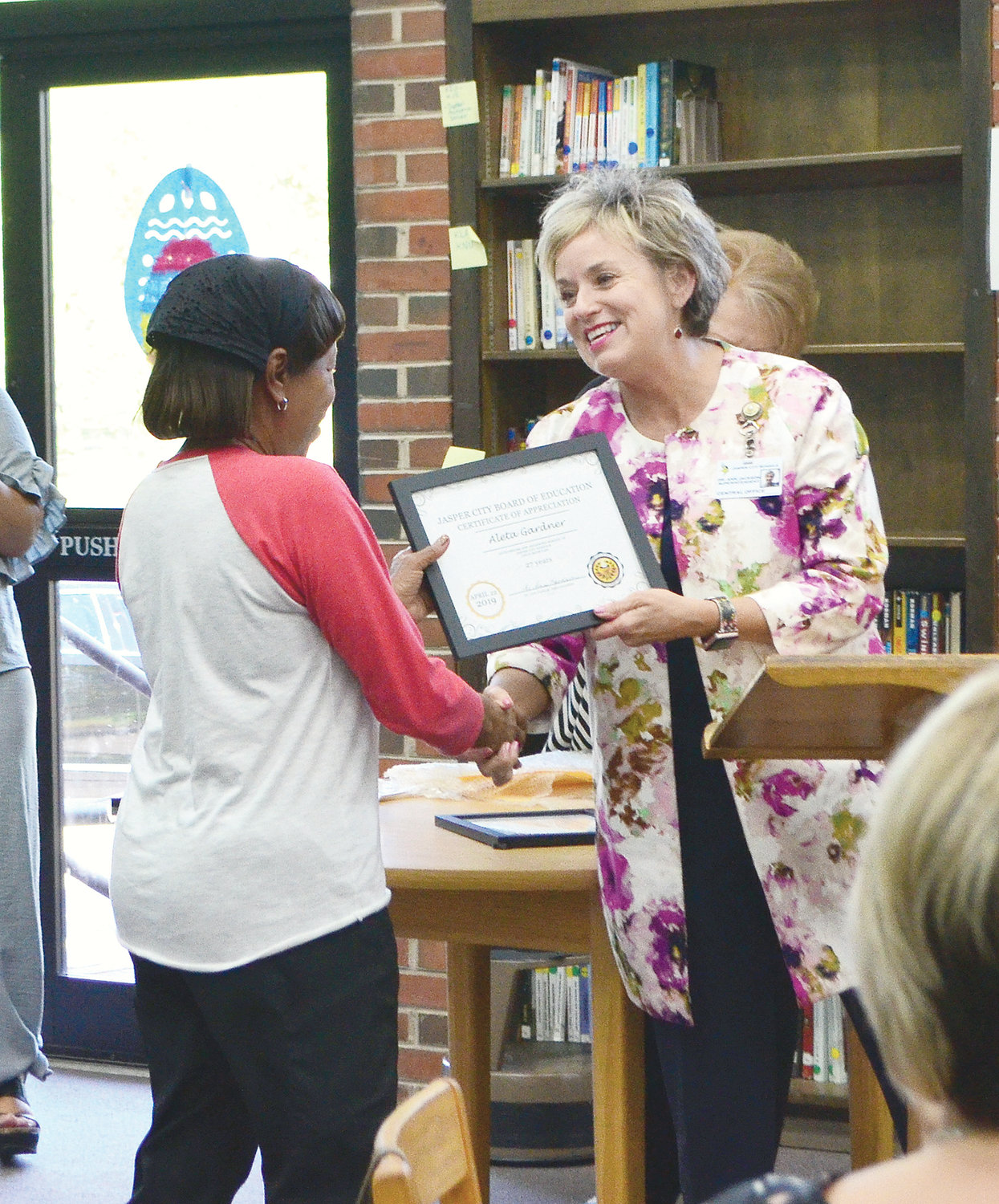 Aleta Gardner of Jasper High School was honored for 27 years of service in the CNP program.