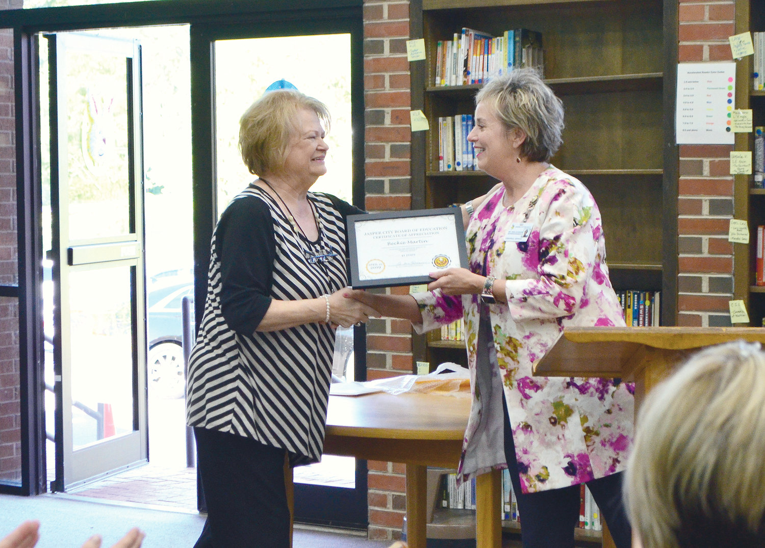Jasper City Schools CNP Director Beckie Martin was recognized for 41 years of service in the CNP program.