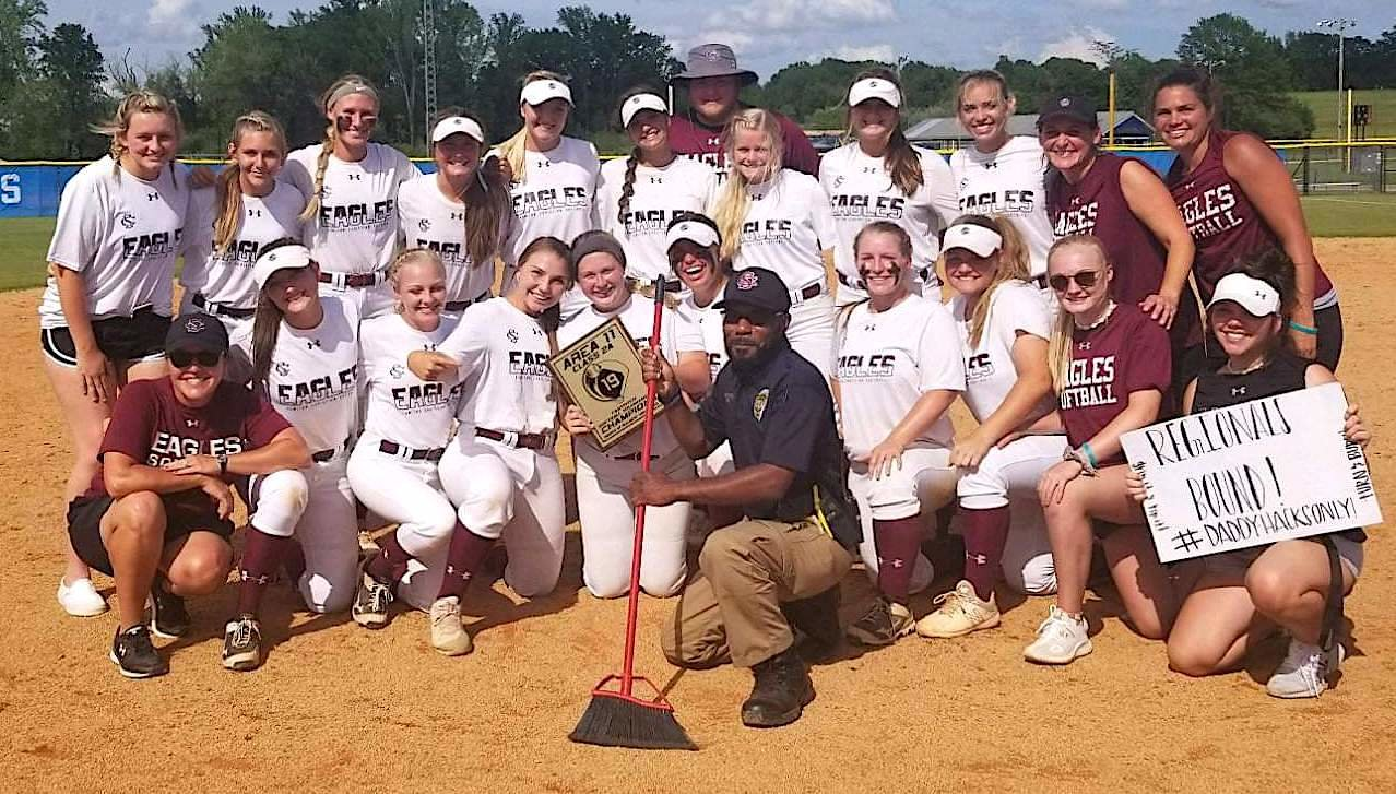 The Sumiton Christian softball team won the Class 2A, Area 11 Tournament at Sulligent on Thursday, beating the host team 15-0 in three innings in the championship game. The Eagles play West End at the West Central Regional in Tuscaloosa on May 10.