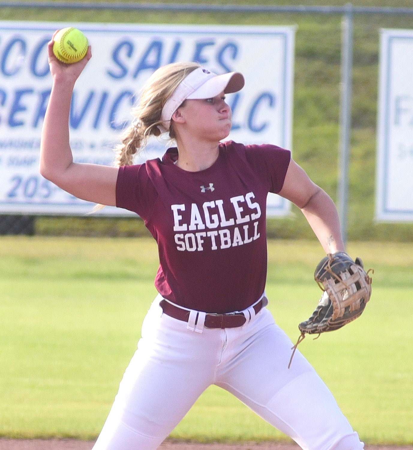 Sumiton Christian shortstop Jessie Baughan throws to first base for an out during a game against Oakman this season. The Eagles have to win three straight games in Tuscaloosa on Monday to earn a spot in the state tournament.