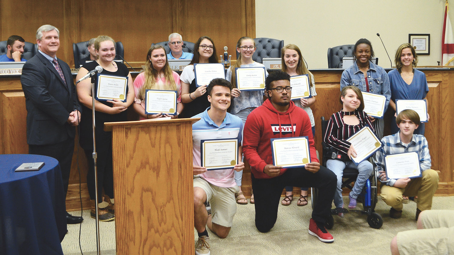 Pictured is a group of students who received dual enrollment scholarships to Bevill State Community College.