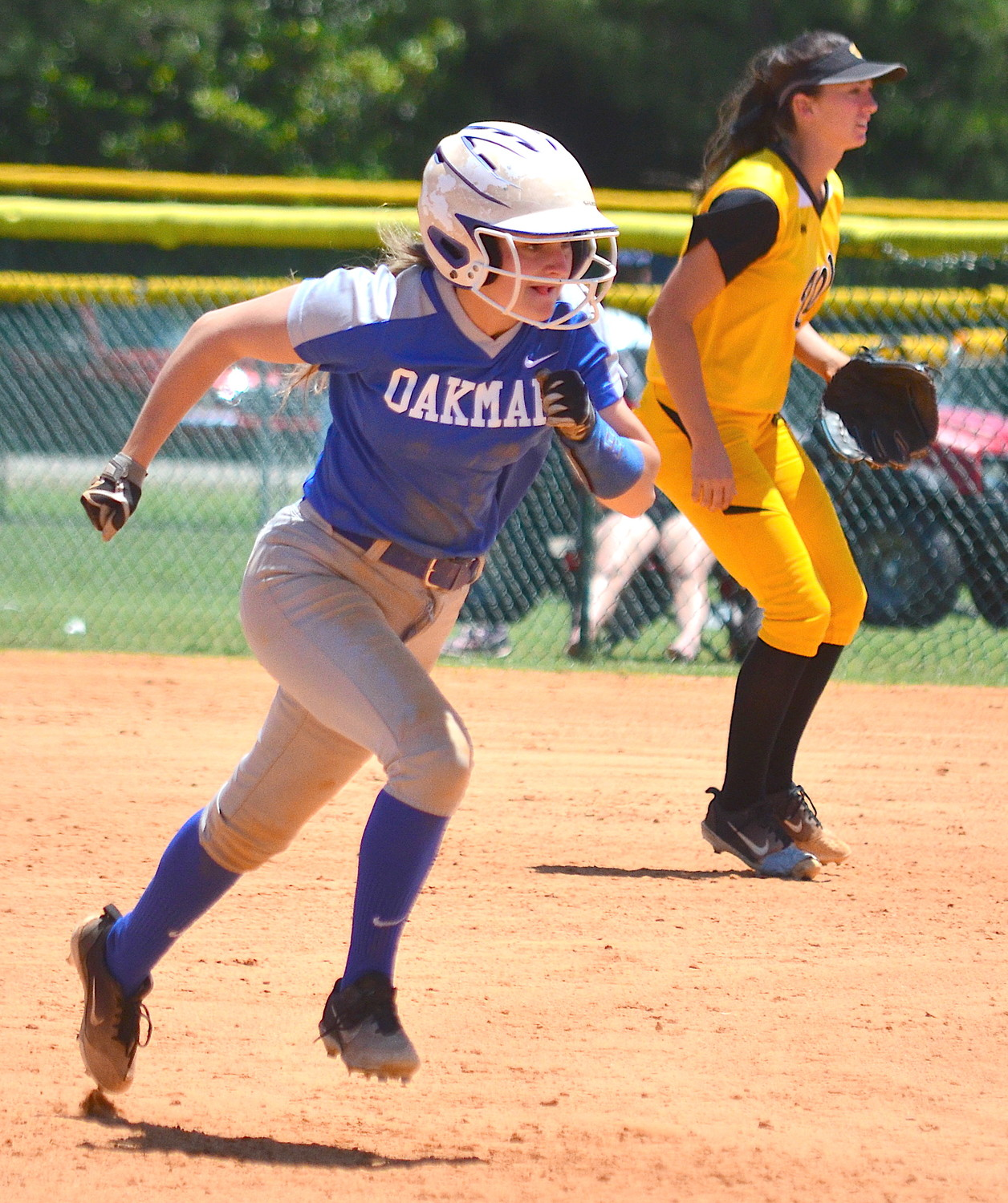 Oakman's AJ Barrentine makes her way to third base during Wednesday's loss to Wicksburg at the state tournament.