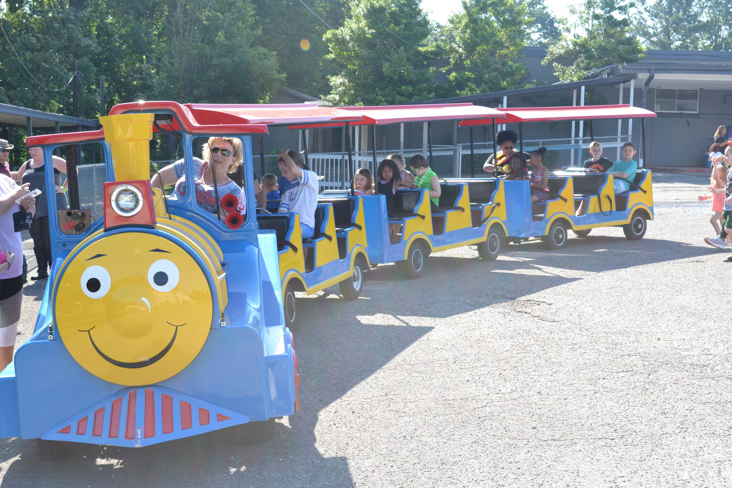 "The train is set to depart, taking students around the Cordova Elementary parking lot as part of the school's annual ""May Day"" festival."