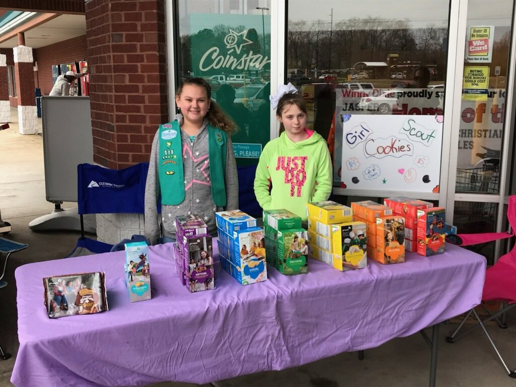 Michelle Burgett, at right, was the top cookie seller this year among Girl Scouts in Service Unit No. 253, which covers Fayette, Lamar and Walker counties.