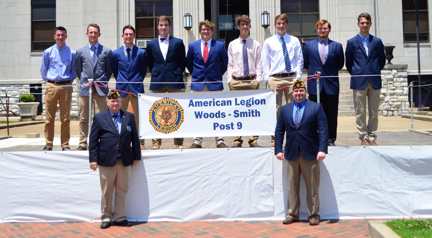 Pictured are this year's Boys State delegates from Walker County. Pictured top row, from left to right, Coulson Aaron, Gavin Wideman and Ethan Wideman of Curry High School; Christopher Wilson, Jack Bryan, Colin Daughdrill and John Crump of Jasper High School; Tristin Lollar of Oakman High School; and Nicholas Persky of Sumiton Christian School. Pictured, bottom row, is James Snow, chairman of American Legion Woods-Smith Post 9, and Ernest Inman, Post 9 commander. Not pictured is Cameron Frost of Cordova High School, Nicholas Keeton and Colton Hall of Jasper High School, and Micah Harrison of Dora High School.
