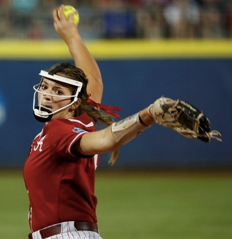 Alabama's Montana Fouts throws a pitch against Arizona in their College World Series elimination game on Saturday night. The Tide won 2-0 and will play Oklahoma today.