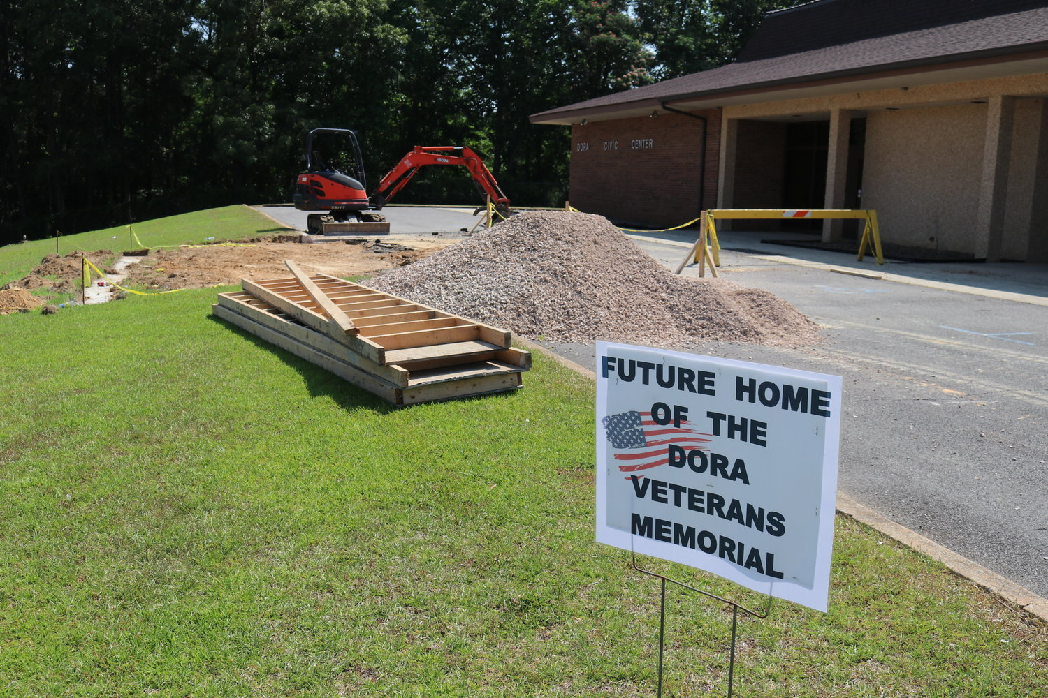 Contractors for the Dora Veterans Memorial Committee broke ground on the monument area this past week.  The goal is to have the memorial completed by Veterans Day 2019.
