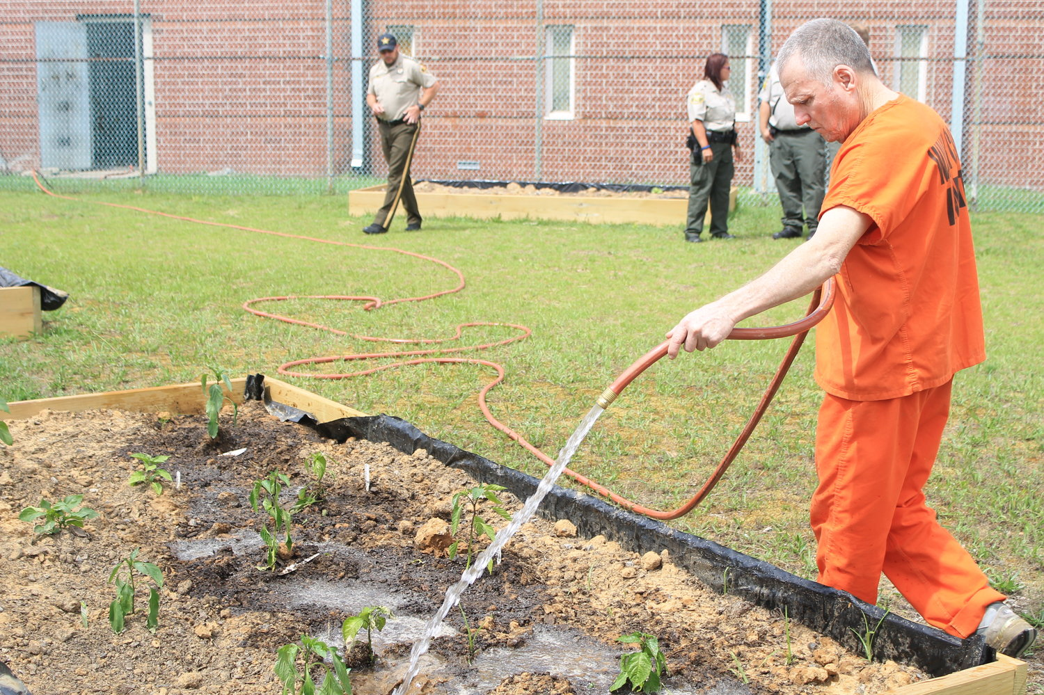 Mitchell Russell waters pepper plants at Walker County Jail on Tuesday. Members of Desperation Church helped install nine raised bed gardens in a fenced area behind the jail during Passion Week. A variety of tomato and pepper plants were planted this week.