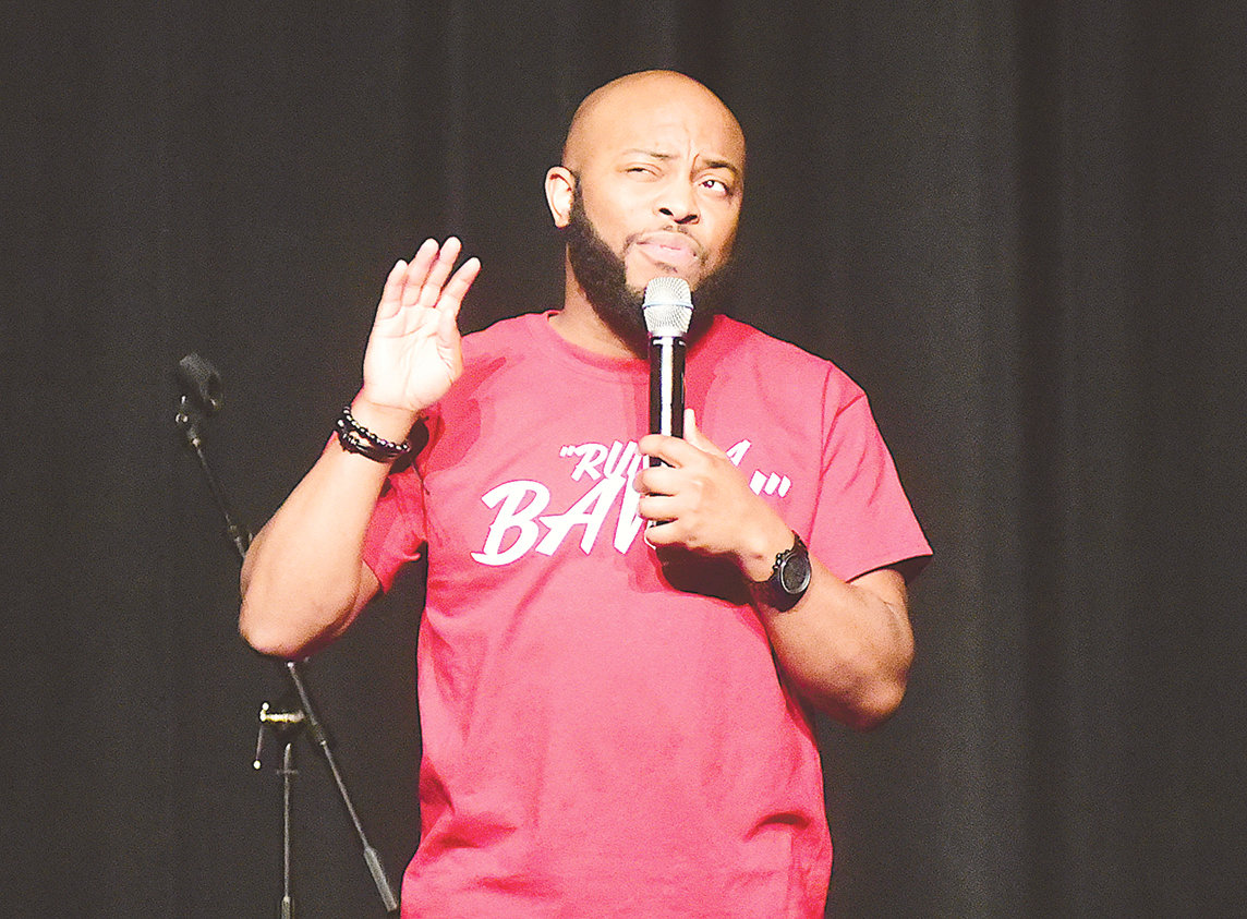Comedian Jermaine 'FunnyMaine' Johnson performed at Jasper High School Thursday night to raise money for the Jasper High football team. The performance was sponsored by Carl Cannon Chevrolet and the Daily 