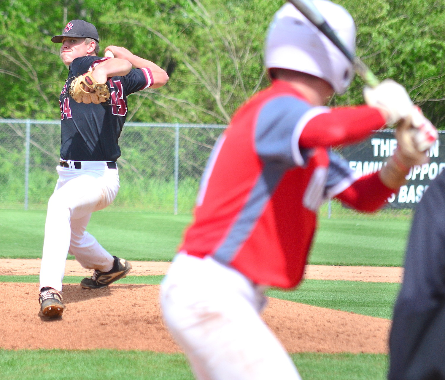 Joe Hicks throws a pitch during a playoff game this year. Hicks is the Eagle Elite Baseball Player of the Year for the second consecutive season.
