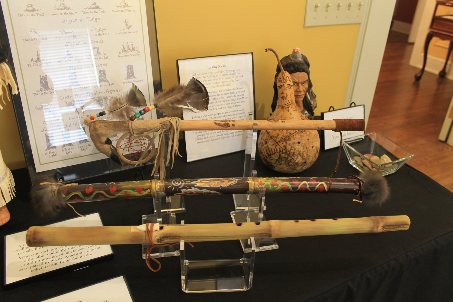A talking stick, a rainstick and a cane flute are among the Native American artifacts that local collector Wheeler Pounds has loaned to the Bankhead House and Heritage Center for a new exhibit that opens today. A reception will be held today from 2 to 4 p.m. The exhibit runs through Sept. 20.