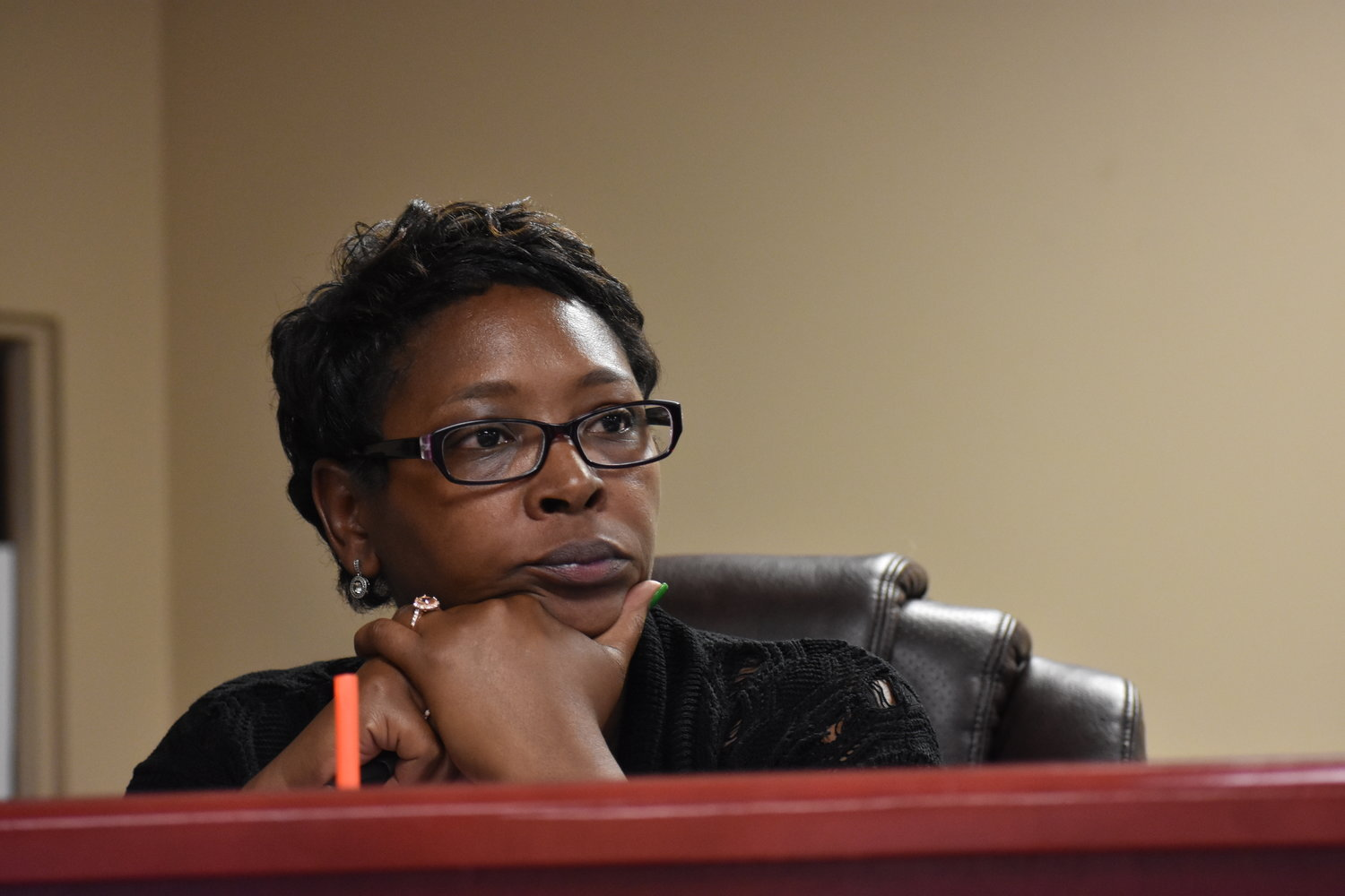 Councilwoman La'Tisha Oliver listens to debate during Tuesday's Parrish City Council meeting. The council picked her to be the new mayor in the wake of Mayor Heather Hall's resignation.