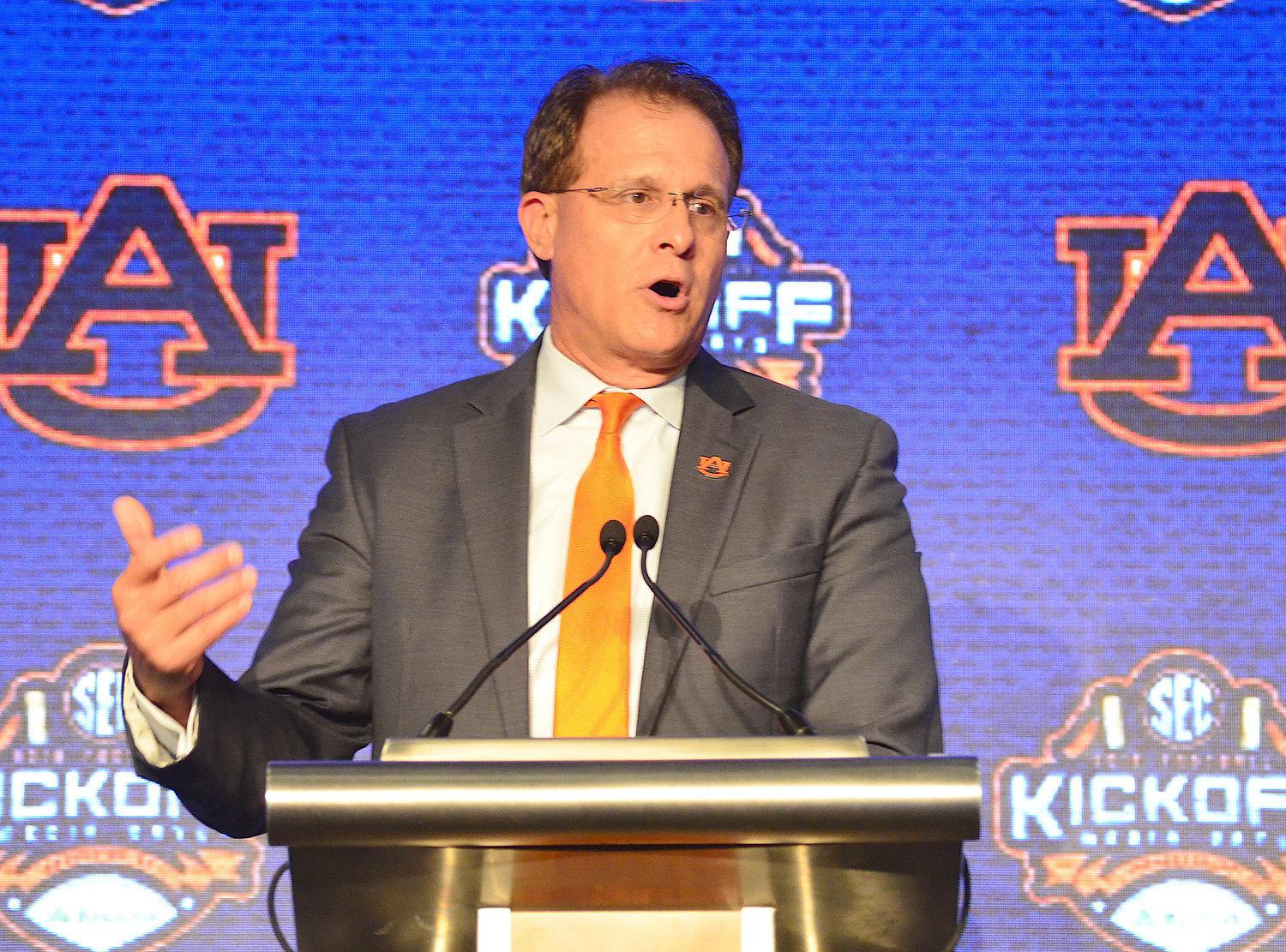 Auburn head football coach Gus Malzahn speaks to reporters at SEC Media Days in Hoover on Thursday. Malzahn enters the season on the hot seat following an 8-5 season in 2018. The Tigers open the 2019 season in Arlington, Texas against Oregon.