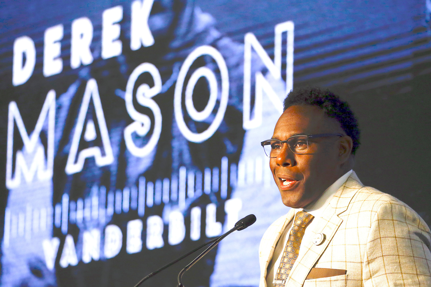 Vanderbilt coach Derek Mason speaks during SEC Media Days on Thursday. The four Eagle staff members picking the SEC have Vanderbilt finishing in the bottom three of the conference this season.