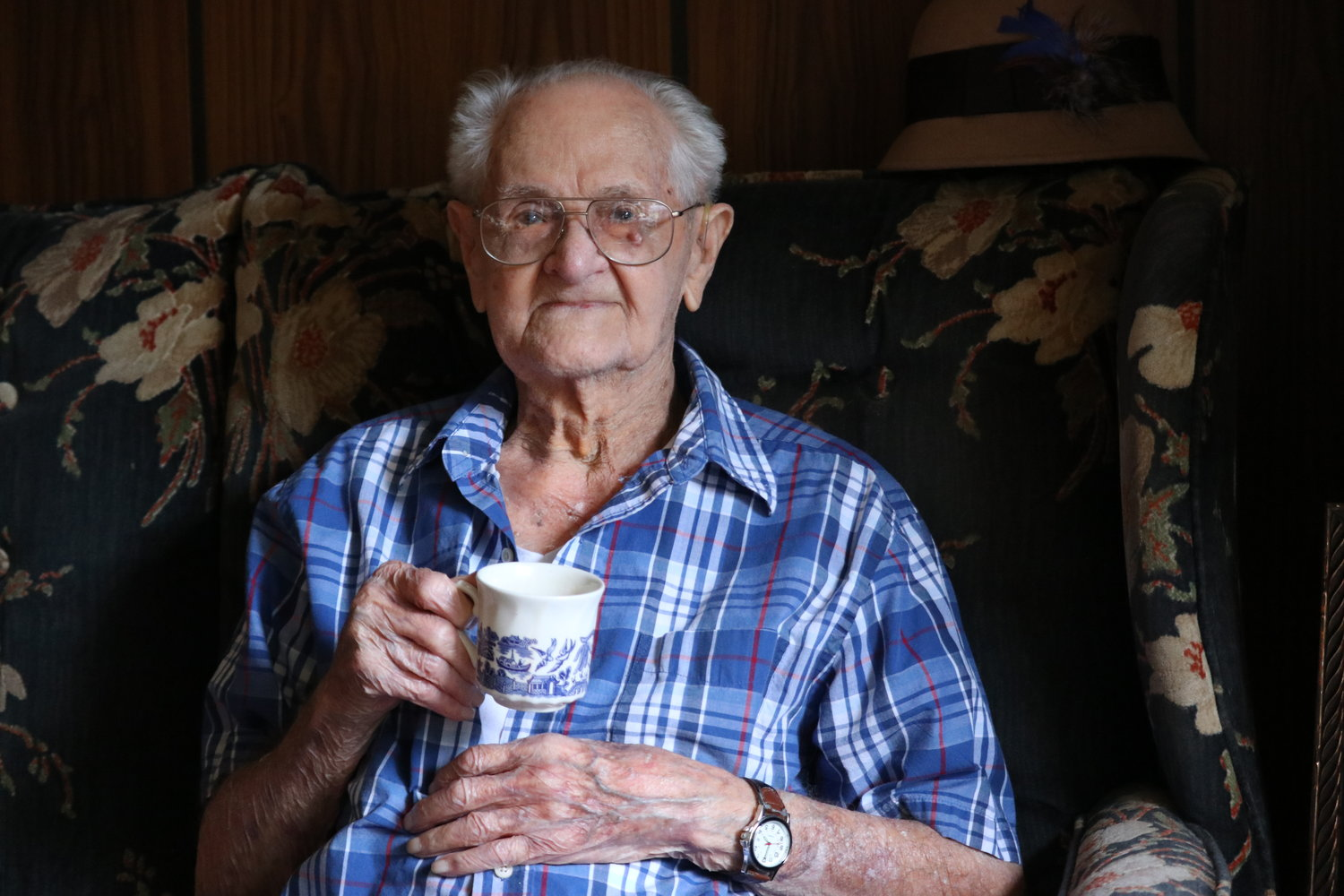 At 102, Bob Hester still chews tobacco and drinks coffee throughout the day.