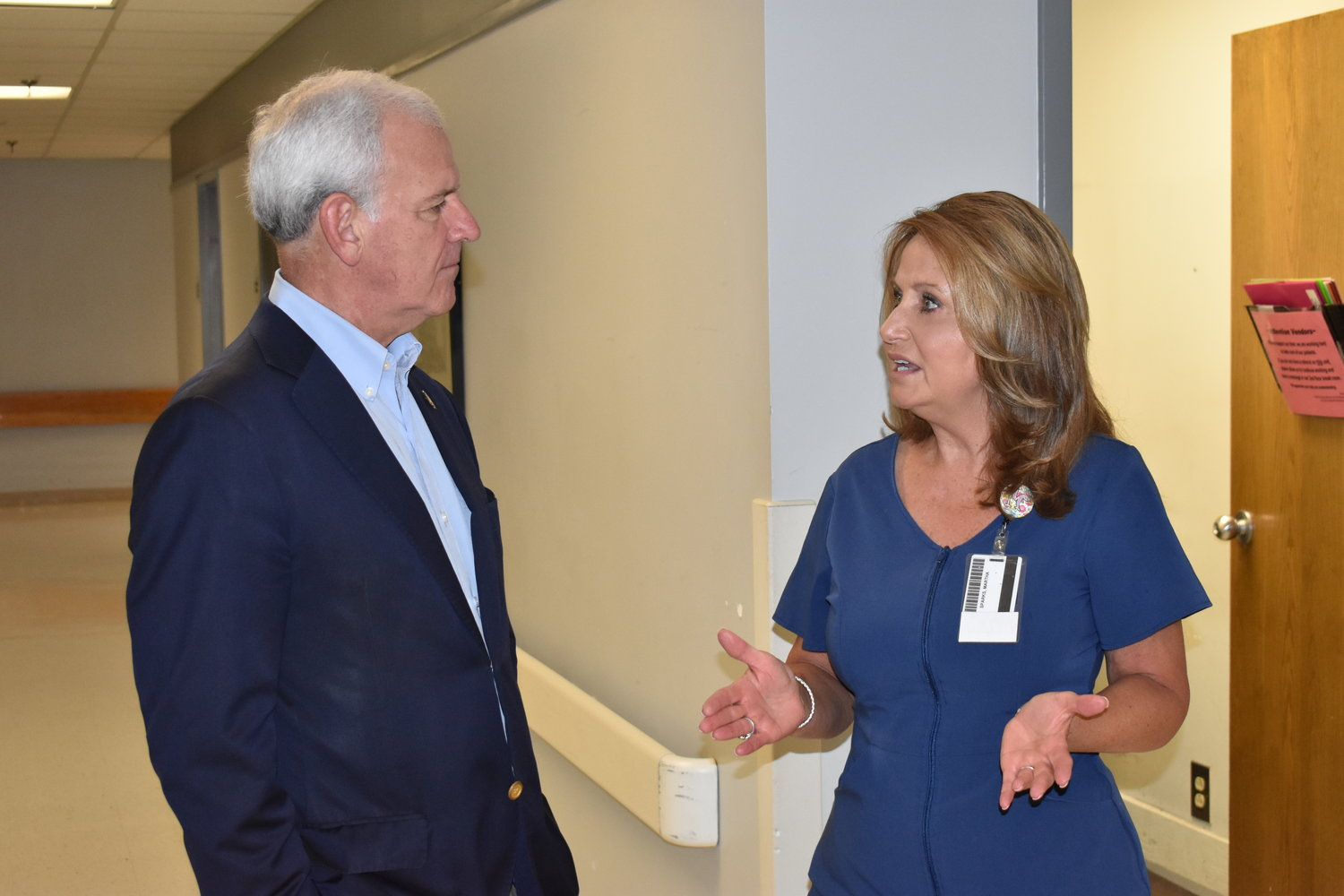 Nursing Manager Martha Sparks of the Ortho Surgical Unit at Walker Baptist Medical Center speaks to U.S. Rep. Bradley Byrne on Tuesday. The Republican congressman was visiting Jasper that day while campaigning for the U.S. Senate seat now held by Democrat Doug Jones.