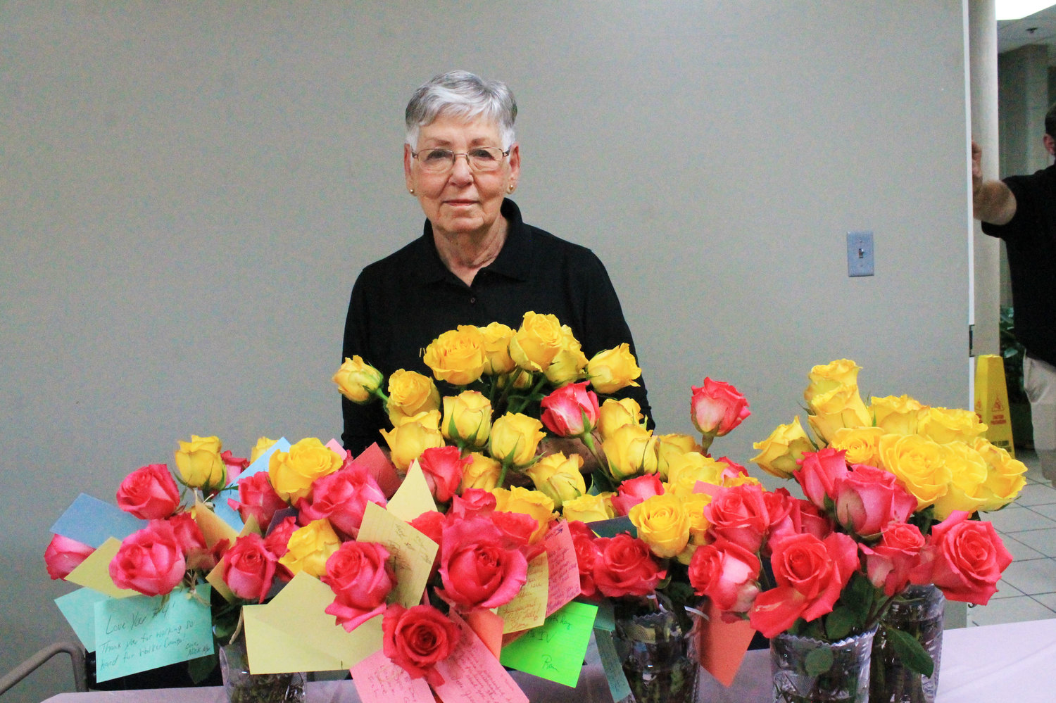 IV Rutledge, known to all as Miss IV, got 100 roses and kind notes from coworkers at the Walker County Sheriff's Office on Wednesday in celebration of her 82nd birthday.